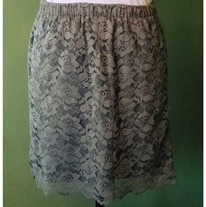 🛍Olive Green lace overlay Skirt